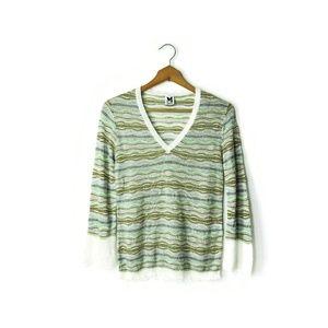 MISSONI M Italy 42 v-neck multi color sweater top